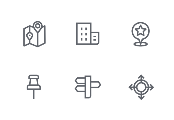 Location outline icons
